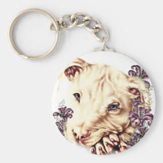 Drawing of White Pitbull with Lilies Keychain