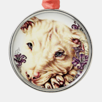 Drawing of White Pitbull with Lilies Metal Ornament