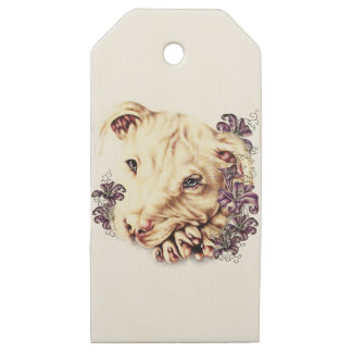 Drawing of White Pitbull with Lilies Wooden Gift Tags
