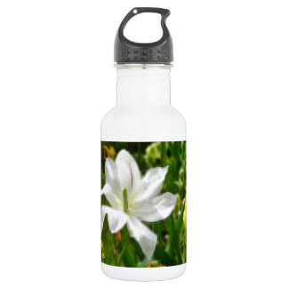 Drawing of white tulip flower stainless steel water bottle