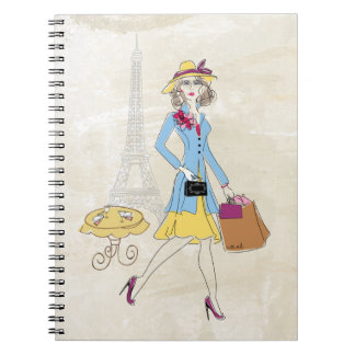 Drawing of Woman in Paris shopping Spiral Notebook