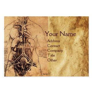 Drawing of Woman's Torso Antique Brown Parchment Business Card Templates
