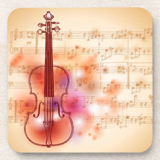 Drawing on watercolor background of violin coaster