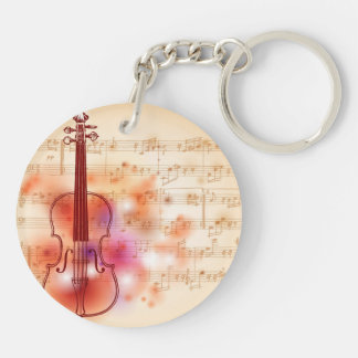 Drawing on watercolor background of violin Double-Sided round acrylic keychain