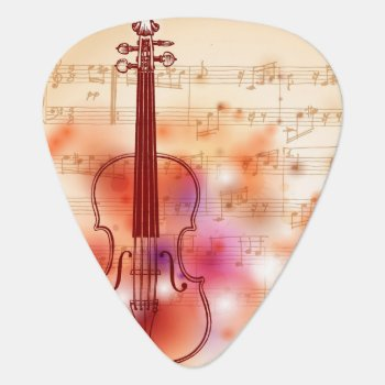 Drawing On Watercolor Background Of Violin Guitar Pick by watercoloring at Zazzle