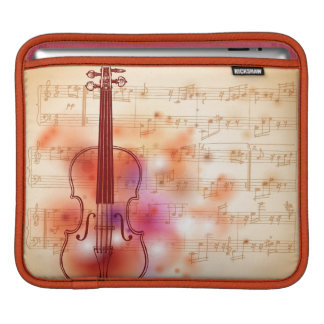 Drawing on watercolor background of violin iPad sleeve