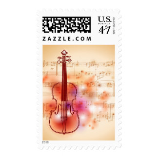 Drawing on watercolor background of violin stamp