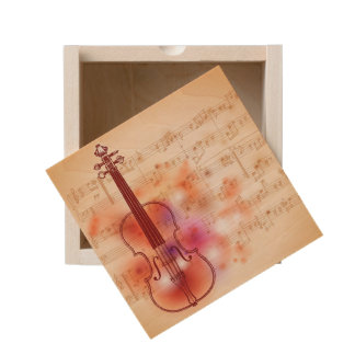 Drawing on watercolor background of violin wooden keepsake box