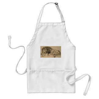 Drawing or a lion by Rembrandt van Rijn Adult Apron