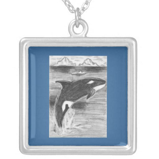 Drawing Orca Freedom Square Pendant Necklace