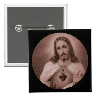 Drawing Sacred Heart of Jesus Pinback Button