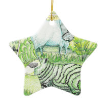 drawing_sheep on hill 20171117(color) ceramic ornament