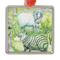drawing_sheep on hill 20171117(color) metal ornament
