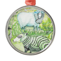 drawing_sheep on hill metal ornament