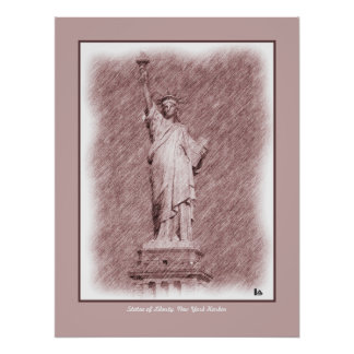 Drawing Statue Of Liberty New York City Poster