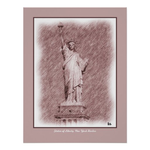 Drawing Statue Of Liberty New York City Posters