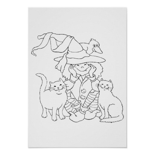 Drawing � to color for Halloween - Print