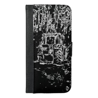 drawing tractor and nature iPhone 6/6s plus wallet case