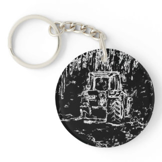 drawing tractor and nature keychain