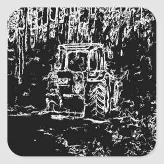 drawing tractor and nature square sticker