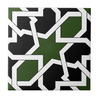 Drawing up 09 of tile of green and black geometry