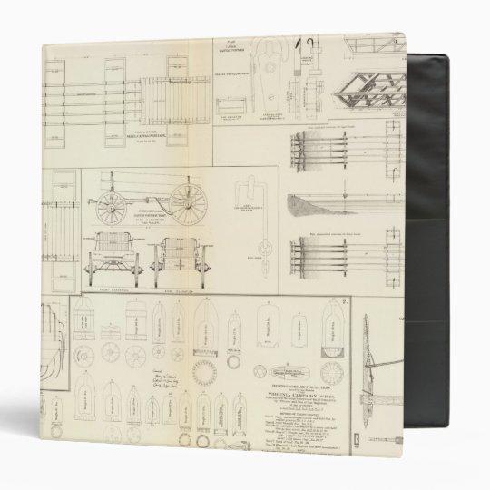 Drawings boats, bridges, wagons, projectiles 3 ring binder