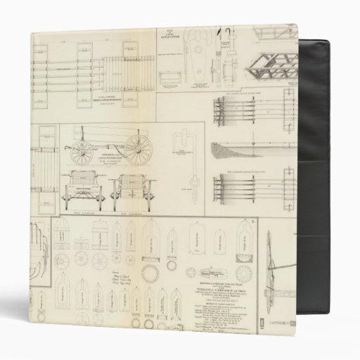 Drawings boats, bridges, wagons, projectiles vinyl binders