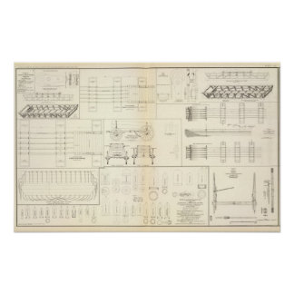 Drawings boats, bridges, wagons, projectiles posters