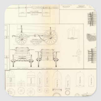Drawings boats, bridges, wagons, projectiles square sticker