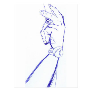 drawn arm the hand with cellular postcard
