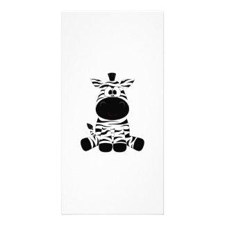 Drawn Black and White Cartoon Zebra sitting Card