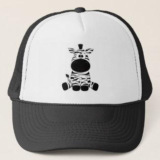 Drawn Black and White Cartoon Zebra sitting Trucker Hat