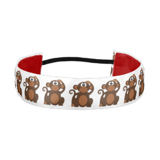 Drawn Brown Cartoon monkey scratching head Athletic Headband