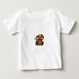 Drawn Brown Cartoon monkey scratching head Baby T-Shirt