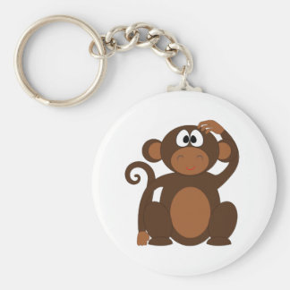 Drawn Brown Cartoon monkey scratching head Keychain