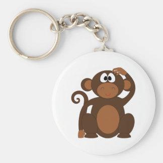 Drawn Brown Cartoon monkey scratching head Keychain