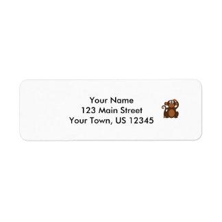 Drawn Brown Cartoon monkey scratching head Custom Return Address Label