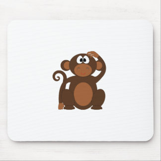 Drawn Brown Cartoon monkey scratching head Mouse Pad
