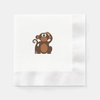 Drawn Brown Cartoon monkey scratching head Napkin