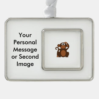 Drawn Brown Cartoon monkey scratching head Ornament