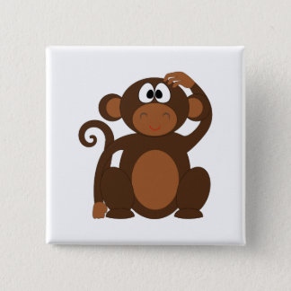 Drawn Brown Cartoon monkey scratching head Pinback Button