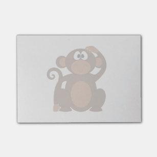 Drawn Brown Cartoon monkey scratching head Post-it Notes
