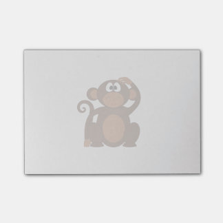 Drawn Brown Cartoon monkey scratching head Post-it Notes