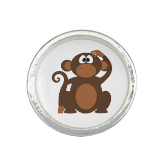 Drawn Brown Cartoon monkey scratching head Ring