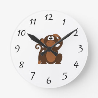 Drawn Brown Cartoon monkey scratching head Round Clock