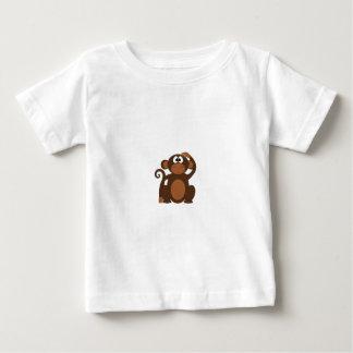 Drawn Brown Cartoon monkey scratching head T Shirt