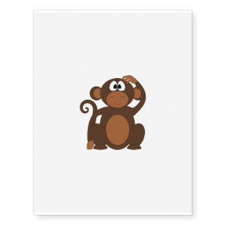 Drawn Brown Cartoon monkey scratching head Temporary Tattoos