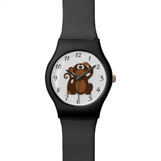 Drawn Brown Cartoon monkey scratching head Wristwatch
