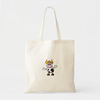 Drawn Cartoon Black and White Cow Bull Budget Tote Bag