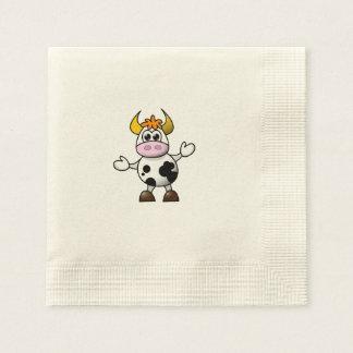Drawn Cartoon Black and White Cow Bull Paper Napkin